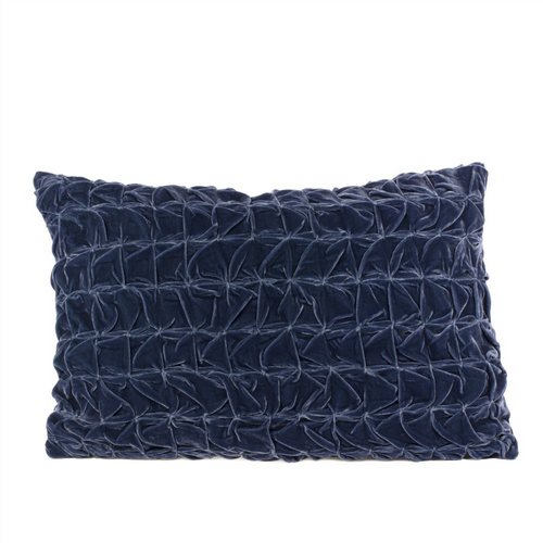 Ruched Velvet Cushion - Midnight Blue